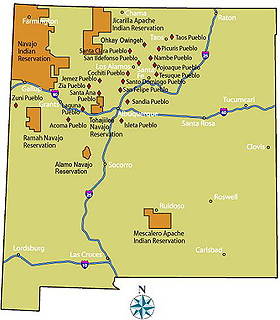 Map of the pueblos and reservations in New Mexico.