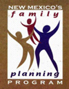 Logo of three colored figures of different sizes meant to represent two parents and a child.