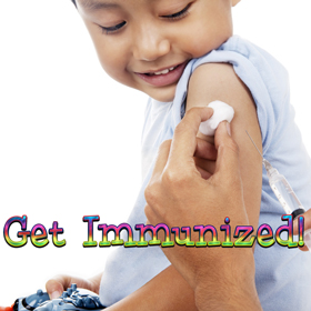 Photo of a young boy receiving a vaccination.