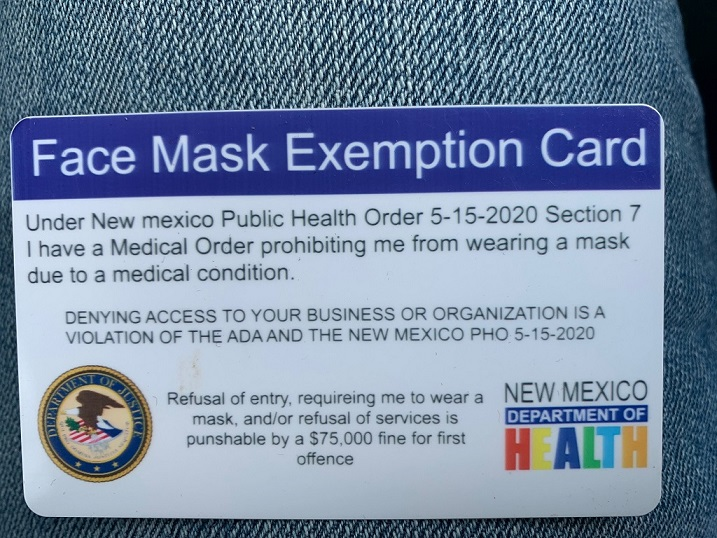 Fradulant DOJ NMDOH Mask Exemption Card