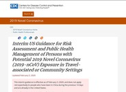 CDC Interim Guidance for Risk Assessment and Public Health Management of Persons with Potential 2019 Novel Coronavirus Exposure in Travel-associated or Community Settings