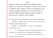 Senate Bill 58 - Community Health Workers Act