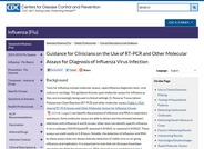 Guidance for Clinicians on the Use of RT-PCR and Other Molecular Assays for Diagnosis of Influenza Virus Infection